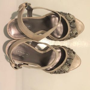 Gorgeous Coach Hanson Jeweled Platform Wedges